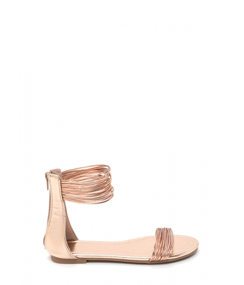 Incaltaminte Femei CheapChic Power Cords Metallic Strap Sandals Rosegold