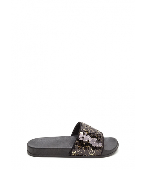 Incaltaminte Femei CheapChic Tip The Scales Sequined Slide Sandals Black