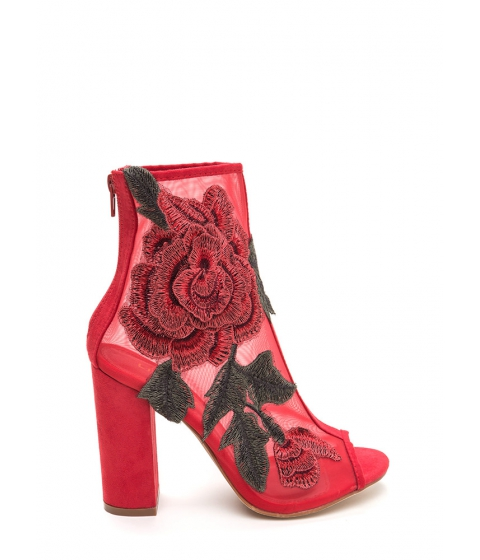 Incaltaminte Femei CheapChic Floral Dimension Chunky Mesh Booties Red