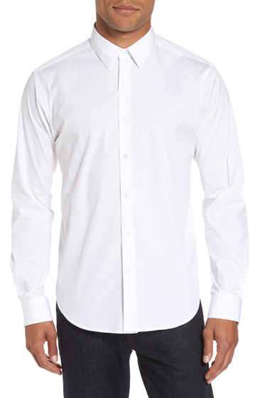 Imbracaminte Barbati Theory Trim Fit Solid Sport Shirt WHITE
