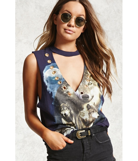 Imbracaminte Femei Forever21 Graphic Grommet Choker Top Navycream