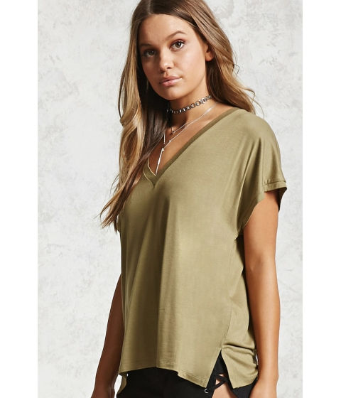 Imbracaminte Femei Forever21 Vented High-Low Tee Olive