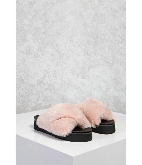 Incaltaminte Femei Forever21 Faux Fur Platform Sandals Blush