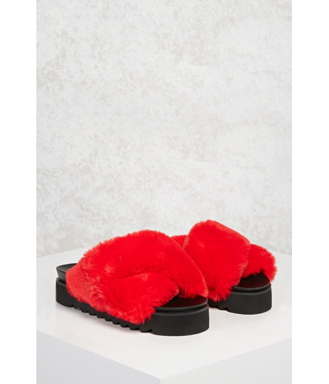 Incaltaminte Femei Forever21 Faux Fur Platform Sandals Red