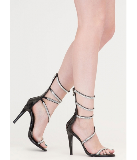 Incaltaminte Femei CheapChic Strappy Life Jeweled Faux Leather Heels Black