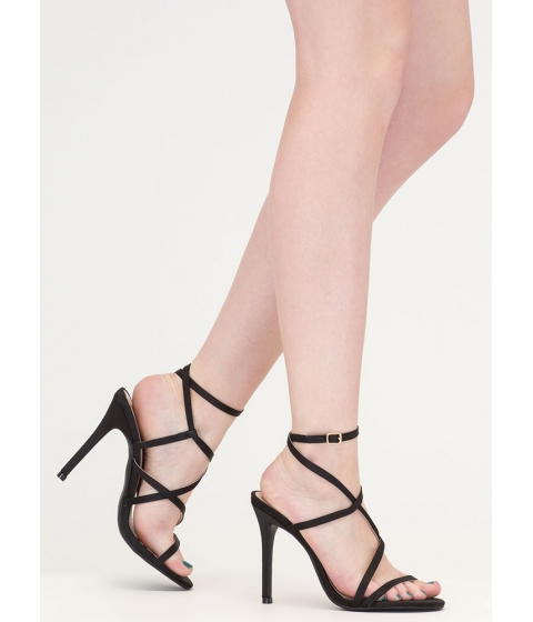 Incaltaminte Femei CheapChic Strappy Happy Caged Satin Heels Black