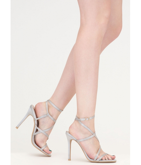 Incaltaminte Femei CheapChic Strappy Sensation Satiny Caged Heels Silver