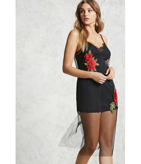 Imbracaminte Femei Forever21 Floral Mesh Cami Dress Blackred