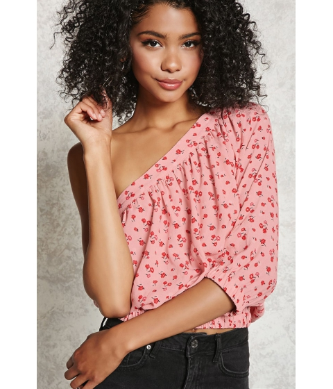 Imbracaminte Femei Forever21 Floral One-Shoulder Top Pinkmulti