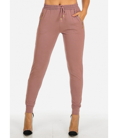 Imbracaminte Femei CheapChic Pull-On Stretchy Mauve Jogger Pants (ONE SIZE) Multicolor