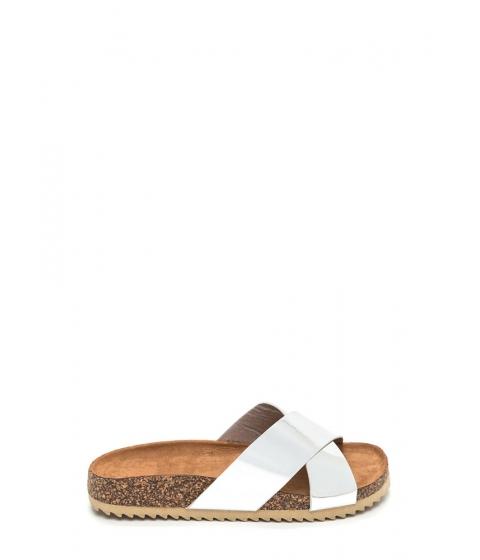 Incaltaminte Femei CheapChic X-press Yourself Metallic Slide Sandals Silver
