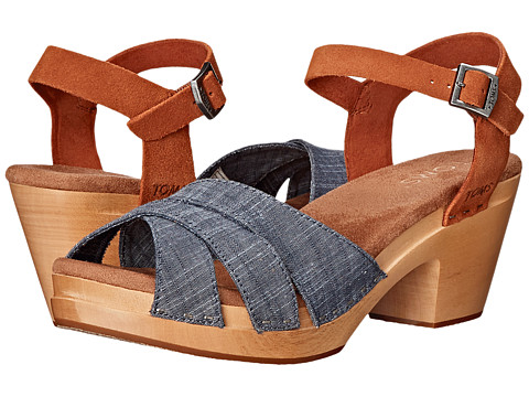 Incaltaminte Femei TOMS Beatrix Clog Sandal Chambray Brown Suede