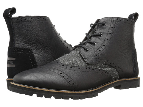 Incaltaminte Barbati TOMS Brogue Boot Black LeatherCharcoal Fleck