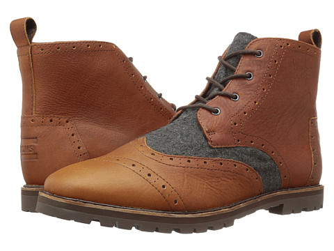 Incaltaminte Barbati TOMS Brogue Boot Brown LeatherGrey Wool
