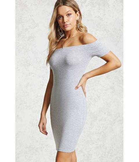 Imbracaminte Femei Forever21 Off-the-Shoulder Bodycon Dress Heather grey