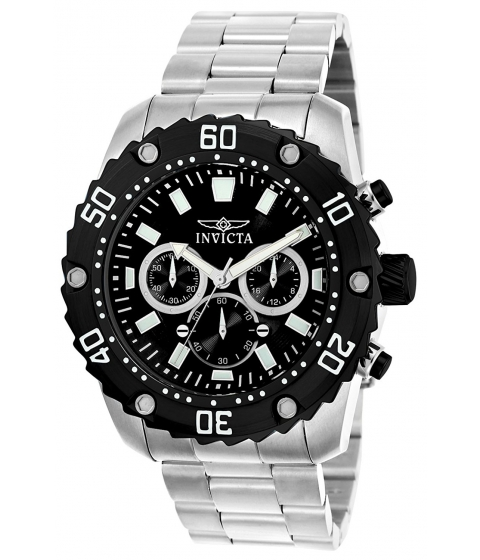 Ceasuri Barbati Invicta Watches Invicta Mens Pro Diver Quartz Stainless Steel Casual Watch ColorSilver-Toned (Model 22516) BlackSilver