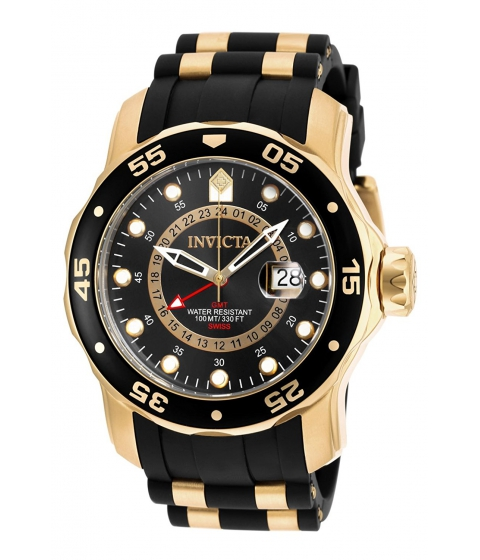 Ceasuri Barbati Invicta Watches Invicta Mens 6991 Pro Diver Collection GMT 18k Gold-Plated Stainless Steel Watch with Black Band BlackBlack