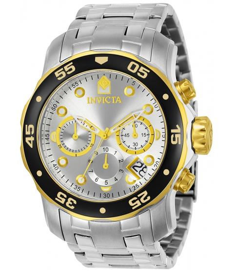 Ceasuri Barbati Invicta Watches Invicta Mens Pro Diver Scuba Swiss Chronograph Silver Dial Stainless Steel Bracelet Watch 80040 SilverSilver