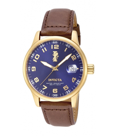 Ceasuri Barbati Invicta Watches Invicta Mens 15255 I-Force 18k Gold Ion-Plated Stainless Steel and Brown Leather Watch BlueBrown