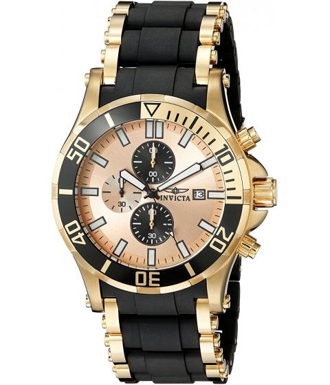 Ceasuri Barbati Invicta Watches Invicta Mens 1478 Sea Spider Chronograph Gold Dial Black Polyurethane Watch GoldBlack