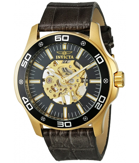 Ceasuri Barbati Invicta Watches Invicta Mens Specialty Mechanical Hand Wind Gold-Tone and Leather Casual Watch ColorGrey (Model 17261) BlackGrey