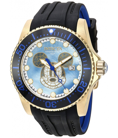 Ceasuri Barbati Invicta Watches Invicta Mens Disney Limited Edition Automatic Stainless Steel and Silicone Casual Watch ColorBlack (Model 22751) Mother of pearlBlack