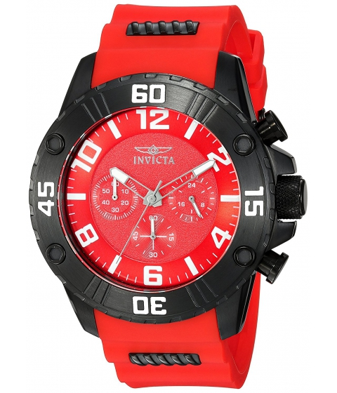 Ceasuri Barbati Invicta Watches Invicta Mens Pro Diver Quartz Stainless Steel and Silicone Casual Watch ColorRed (Model 22700) RedRed