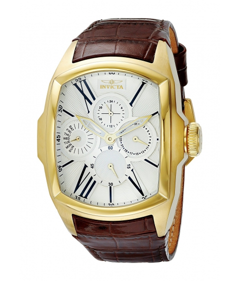 Ceasuri Barbati Invicta Watches Invicta Mens 18899 Lupah 18k Gold Ion-Plated Stainless Steel Watch with Brown Leather Band SilverBrown