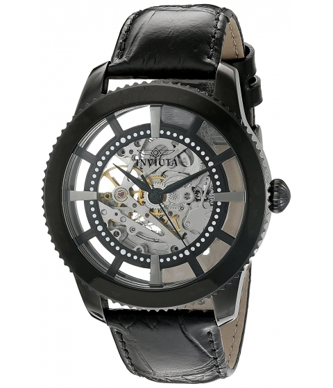 Ceasuri Barbati Invicta Watches Invicta Mens Vintage Automatic Stainless Steel and Leather Casual Watch ColorBlack (Model 22572) SilverBlack