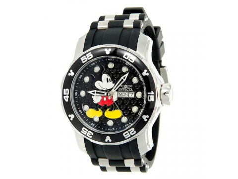 Ceasuri Barbati Invicta Watches Invicta 23763 Mens Disney Black Dial Steel Black Silicone Strap Dive Watch Black