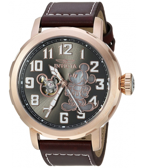 Ceasuri Barbati Invicta Watches Invicta Mens Disney Limited Edition Automatic Metal and Leather Casual Watch ColorBrown (Model 23796) GreyBrown