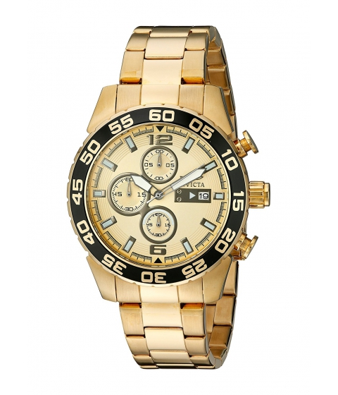 Ceasuri Barbati Invicta Watches Invicta Mens 1016 II Collection Chronograph Gold Dial 18k Gold-Plated Stainless Steel Watch GoldGold