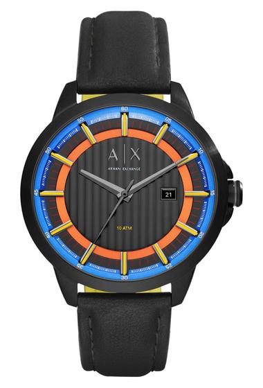 Ceasuri Barbati Armani Exchange Leather Strap Watch 44mm BLACK-MULTI