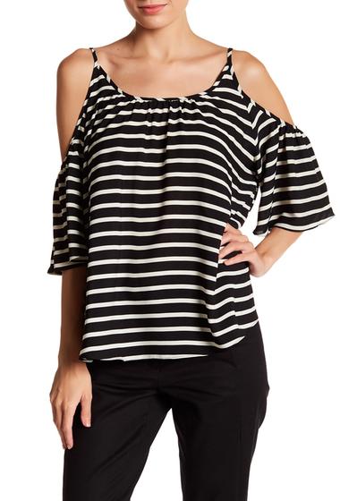Imbracaminte Femei French Connection Polly Plains Cold Shoulder Stripe Blouse BLACK-WHITE