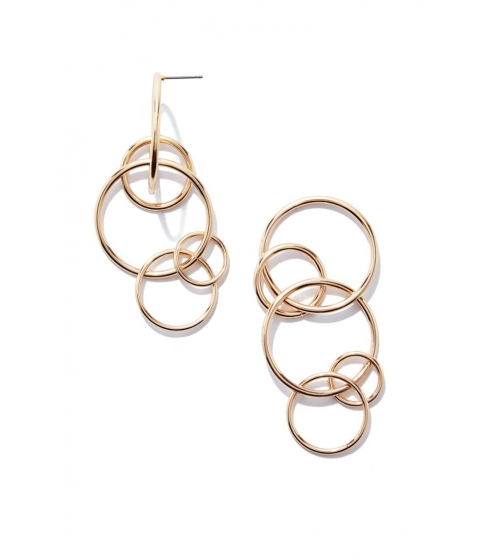 Bijuterii Femei Forever21 Linked-Hoop Drop Earrings Gold