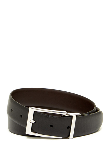 Accesorii Barbati Boconi Reversible Textured Leather Belt BLACK TO BROWN