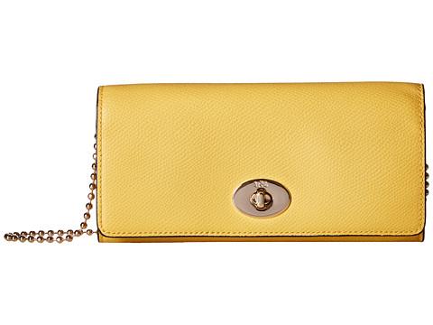 Genti Femei COACH Crossgrain Leather Slim Chain Envelope Yellow