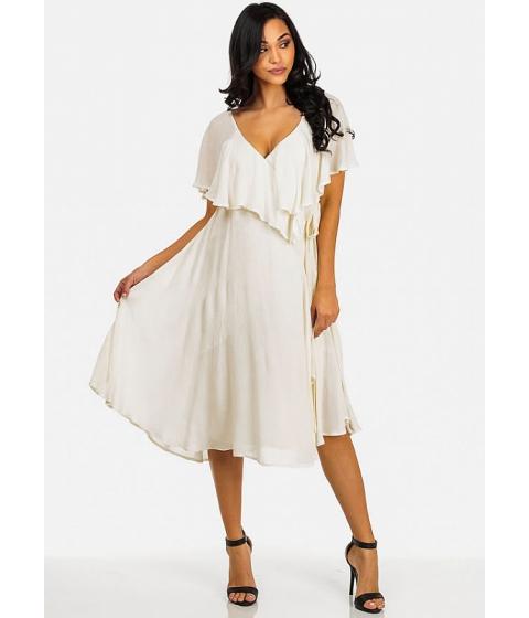 Imbracaminte Femei CheapChic White Ruffle Wrap Maxi Dress Multicolor