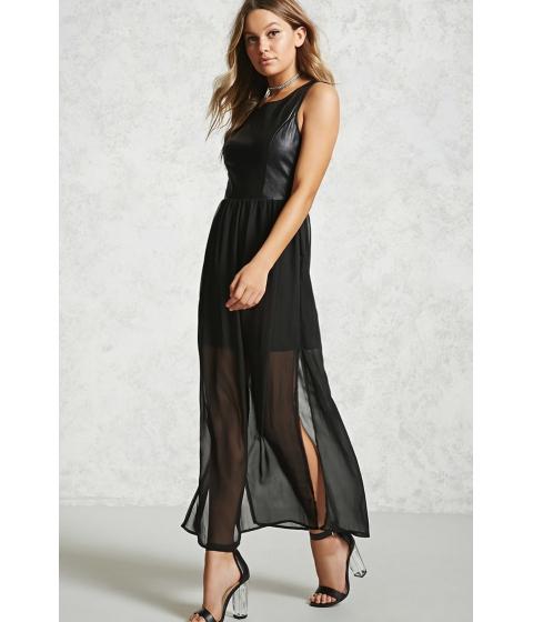 Imbracaminte Femei Forever21 Faux Leather Combo Dress Black