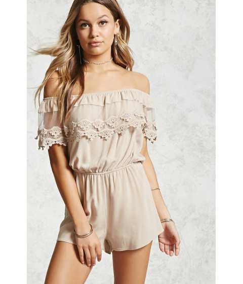 Imbracaminte Femei Forever21 Off-the-Shoulder Lace Romper Tan