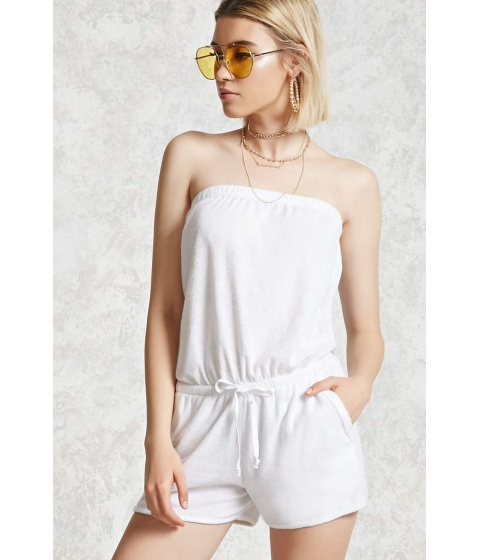 Imbracaminte Femei Forever21 Strapless Terry Knit Romper White