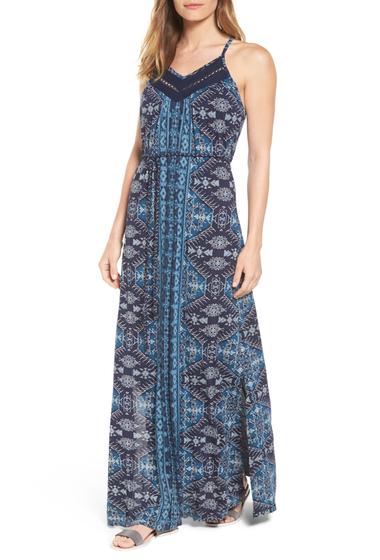 Imbracaminte Femei Lucky Brand Montrose Racerback Knit Maxi Dress NAVY MULTI