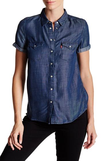 Imbracaminte Femei Levi's Short Sleeve Western Button Up Shirt OCEAN BLUE 1