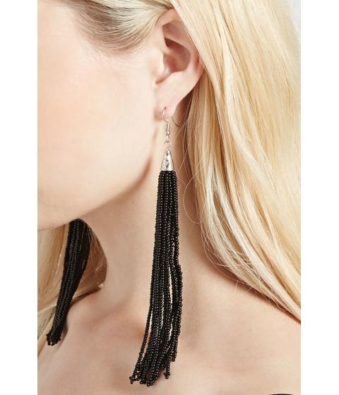Bijuterii Femei Forever21 Beaded Tassel Drop Earrings Blacksilver