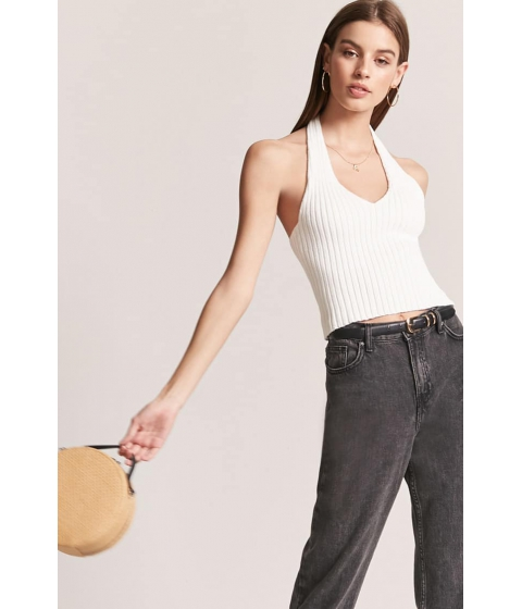 Imbracaminte Femei Forever21 Ribbed Knit Halter Top CREAM
