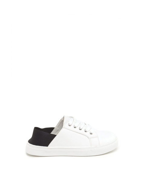 Incaltaminte Femei CheapChic Its A Stretch Faux Suede Sneakers Whiteblack