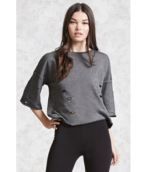 Imbracaminte Femei Forever21 Contemporary Distressed Top Charcoal