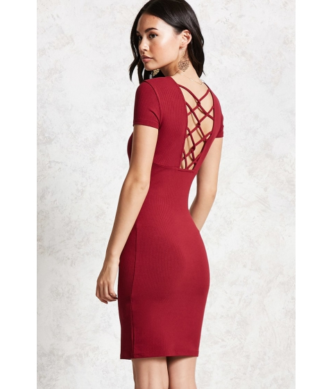 Imbracaminte Femei Forever21 Caged-Back Bodycon Dress Burgundy