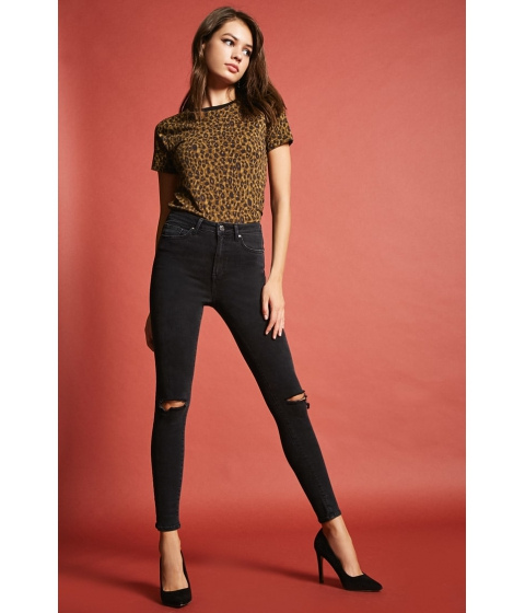 Imbracaminte Femei Forever21 High-Rise Ripped Knee Skinny Jeans Black