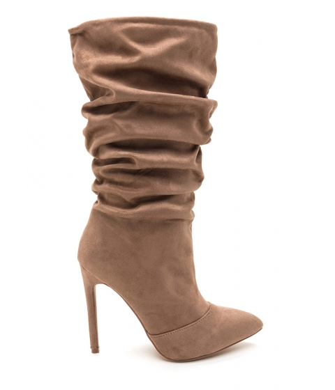 Incaltaminte Femei CheapChic All About The Slouch Faux Suede Boots Taupe